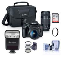 Canon EOS Rebel T7 24.1MP DSLR Camera with EF-S 18-55mm f/3.5-5.6 IS II and EF 75-300mm f/4-5.6 III Lens - With FP Zoom-Mini TTL R2 Flash, 32GB SDHC Card, 58mm Filter Kit,