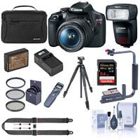 Canon EOS Rebel T7 24.1MP DSLR Camera with EF-S 18-55mm f/3.5-5.6 IS Lens - Bundle With Canon Speedlite 470EX-AI Flash, Slik Pro III Tripod, 64GB SDXC Card, Sholder Bag, Remote Shutter, Battery, More