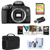 Canon EOS Rebel T8i DSLR Camera Body - Bundle With 32GB SDHC Card, Shoulder Bag, Cleaning Kit, Card Reader, PC Software Package