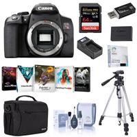 Canon EOS Rebel T8i DSLR Camera Body - Bundle With 64GB SDXC Card, Shoulder Bag, Tripod, Spare Battery, Compact Charger, Software Package, Screen Protector, Cleaning Kit, Card Reader