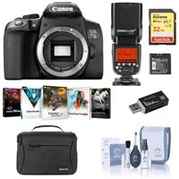 Canon EOS Rebel T8i DSLR Camera Body - Bundle With Flashpoint Zoom Li-on R2 TTL On-Camera Flash Speedlight, 32GB SDHC Card, Shoulder Bag, Cleaning Kit, Software Package, Card Reader