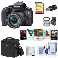 Canon EOS Rebel T8i DSLR Camera with 18-55mm Lens, Bundle with Bag, 32GB SD Card, Filter Pack, Screen Protector, Cleaning Kit and Accessories