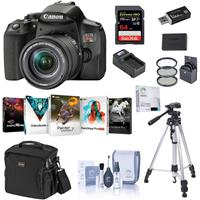Canon EOS Rebel T8i DSLR Camera with 18-55mm Lens, Bundle with Bag, 64GB SD Card, Extra Canon Battery, Charger, Tripod, Filter Kit and Accessories