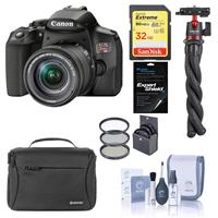 Canon EOS Rebel T8i DSLR Camera with 18-55mm Lens, Bundle with Bag, 32GB SD Card, Mini Tripod, Filter Kit, Screen Protector and Accessories