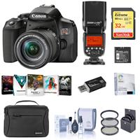 Canon EOS Rebel T8i DSLR Camera with 18-55mm Lens, Speedlight Bundle with Flashpoint Zoom Li-on R2 TTL Flash, Bag, 32GB SD Card, Filter Kit, Screen Protector and Accessories
