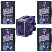 Image of IDX Battery Bundle Includes 4 Pack DUO-C198 191Wh High-Load Battery with D-Tap Advanced, Standard D-Tap & USB Port - With IDX VL4S 4-Channel Simultaneous V-Mount Li-Ion Charger