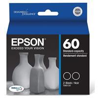 Epson T060 DURABrite Black Ink Cartridges, Dual Pack