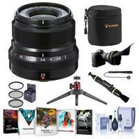 Image of Fujifilm XF 23mm (35mm) F/2R WR Lens, Black - Bundle With 43mm Filter Kit, Flex Lens Shade, Table Top Tripod, Lens Case, Cleaning Kit, Capleash, Lens Pen Cleaner, Software