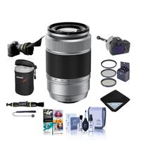 Image of Fujifilm XC 50-230mm (76-350mm) F4.5-6.7 OIS II Lens Silver - Bundle With FocusShifter DSLR Follow Focus, Flex Lens Shade, 58mm Filter Kit, Lens Case, Cleaning Kit, Lens Wrap, Software Package And More