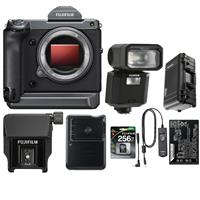 Image of Fujifilm GFX 100 Medium Format Mirrorless Camera Body - Bundle With Fujifilm EVF-TL1 EVF Tilt Adapter, 256GB SDXC UHS-1 U3 Card, Fuji NP-T125 Li-ion Battery, Fuji BC-T125 Charger, Carry-On Case, And More