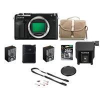 Fujifilm GFX 50R Medium Format Mirrorless Camera (Body) - Bundle With 256GB SDXC Memory Card, Fuji NP-T125 Li-ON Battery, Fuji F-803 Camera Satchel Bag, Peak Camera Strap, Fuji EVF-TL1 EVF Tilt Adapter