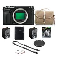 Fujifilm GFX 50R Medium Format Mirrorless Camera (Body Only) - Bundle With 256GB Class 10 SDXC Memory Card, Fujifilm NP-T125 Rechargeable Battery, Fujifilm F-803 Camera Satchel Bag, Peak Leash Camera Strap