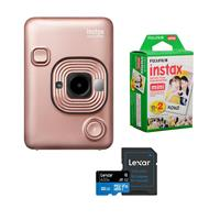 Image of Fujifilm Instax Hybrid Mini LiPlay, Blush Gold - Bundle With Fujifilm instax mini Instant Daylight Film Twin Pack, 20 Exposures, 32GB MIcroSDHC Card
