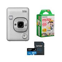 Image of Fujifilm Instax Hybrid Mini LiPlay, Stone White - Bundle With Fujifilm instax mini Instant Daylight Film Twin Pack, 20 Exposures, 32GB MIcroSDHC Card