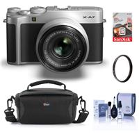 Fujifilm X-A7 24.2MP Mirrorless Digital Camera with Fujinon XC 15-45mm F3.5-5.6 OIS PZ Lens, Silver - Bundle With Camera Case, 16GB SDHC Memory Card, 52mm UV Filter, Cleaning Kit