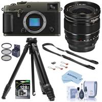 Fujifilm X-Pro3 Mirrorless Digital Camera Dura Black, With XF 16mm F1.4 R (WR) Lens - Bundle With Peak Aluminum Travel Tripod, Peak Leash Camera Strap, 128GB SDXC Card, 67mm Filter Kit, Cleaning Kit, Cloth