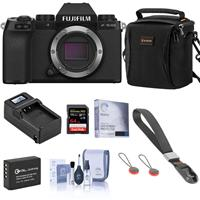 Image of Fujifilm X-S10 Mirrorless Digital Camera, Black (Body Only) - Essential Bundle with 64GB SD Card, Shoulder Bag, Wrist Strap, Extra Battery, Compact Charger, Screen Protector, Cleaning Kit