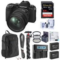 Image of Fujifilm X-S10 Mirrorless Digital Camera with 16-80mm Lens, Black - Bundle with 64GB SD Card, Backpack, 2x Extra Battery, Dual Charger, Wrist Strap, Octopus Tripod, Filter Kit and Accessories