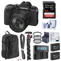 Image of Fujifilm X-S10 Mirrorless Digital Camera with 18-55mm Lens, Black - Bundle with 64GB SD Card, Backpack, 2x Extra Battery, Dual Charger, Wrist Strap, Octopus Tripod, Filter Kit and Accessories