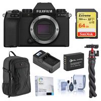 Image of Fujifilm X-S10 Mirrorless Digital Camera, Black (Body Only) - Bundle with 64GB SD Card, Backpack, Octopus Tripod, Extra Battery, Smart Charger, Screen Protector, Cleaning Kit