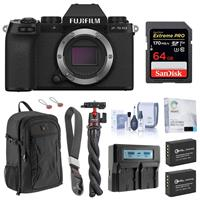 Image of Fujifilm X-S10 Mirrorless Digital Camera, Black (Body Only) - Bundle with 64GB SD Card, Backpack, 2x Extra Battery, Dual Charger, Wrist Strap, Octopus Tripod and Accessories