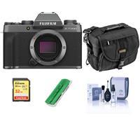 Fujifilm X-T200 Mirrorless Digital Camera Body - Dark Silver - Bundle With Camera Case, 32GB SDHC Memory Card, Cleaning Kit, Card Reader