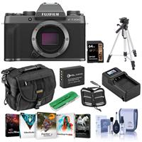 Fujifilm X-T200 Mirrorless Digital Camera Body, Dark Silver - Bundle With Camera Case, 64GB SDXC Card, Spare Battery, Compact Charger, Tripod, Cleaning Kit, Memory Wallet, Card Reader, Software Package