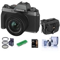 Fujifilm X-T200 Mirrorless Camera with FUJINON XC 15-45mm f/3.5-5.6 Power Zoom Lens, Dark Silver - Bindle With Camera Case, 64GB SDXC Card, Cleaning Kit, Card Reader, 52mm Filter Kit