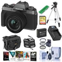 Fujifilm X-T200 Mirrorless Digital Camera - Dark Silver with FUJINON XC 15-45mm f/3.5-5.6 LENS - Bundle With Camera Case, 64GB SDXC Card, Spare Battery, Compact Charger, Tripod, Software Package, More