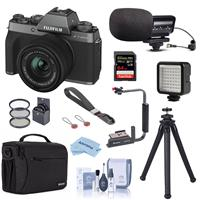 Fujifilm X-T200 Mirrorless Digital Camera with FUJINON XC 15-45mm f/3.5-5.6 Optical Image Power Zoom Lens Dark Silver - Bundle With Stereo Mic, Shoulder Bag, Mini LED Light, Peak Camera Cuff Wrist, More