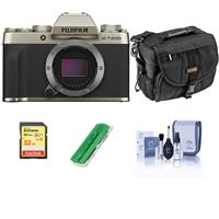 Fujifilm X-T200 Mirrorless Digital Camera Body - Champagne Gold - Bundle With Camera Case, 32GB SDHC Memory Card, Cleaning Kit, Card Reader