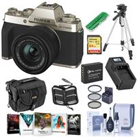Fujifilm X-T200 Mirrorless Digital Camera, Champagne Gold with FUJINON XC 15-45mm f/3.5-5.6 LENS - Bundle With Camera Case, 64GB SDXC Card, Spare Battery, Compact Charger, Tripod, Software Package, More