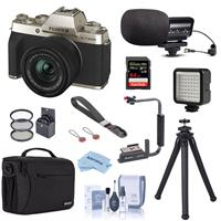 Fujifilm X-T200 Mirrorless Camera with FUJINON XC 15-45mm f/3.5-5.6 Optical Image Power Zoom Lens Champagne Gold - Bundle With Stereo Mic, Shoulder Bag, Mini LED Light, Peak Camera Cuff Wrist, And More
