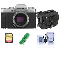 Fujifilm X-T200 Mirrorless Digital Camera Body, Silver - Bundle With Camera Case, 32GB SDHC Memory Card, Cleaning Kit, Card Reader