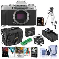 Fujifilm X-T200 Mirrorless Digital Camera Body, Silver - Bundle With Camera Case, 64GB SDXC Card, Spare Battery, Compact Charger, Tripod, Cleaning Kit, Memory Wallet, Card Reader, Software Package
