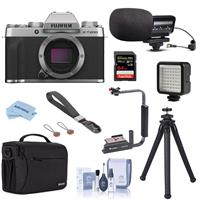 Fujifilm X-T200 Mirrorless Camera Body Silver - Bundle With Stereo Condenser Microphone, Shoulder Bag, Mini LED Light, Peak Camera Cuff Wrist Strap, 64GB SDXC Card, Fotopro Flexible Tripod, More