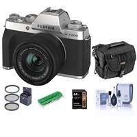 Fujifilm X-T200 Mirrorless Camera with FUJINON XC 15-45mm f/3.5-5.6 Power Zoom Lens, Silver - Bindle With Camera Case, 64GB SDXC Card, Cleaning Kit, Card Reader, 52mm Filter Kit