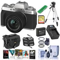 Fujifilm X-T200 Mirrorless Digital Camera, Siver - with FUJINON XC 15-45mm f/3.5-5.6 LENS - Bundle With Camera Case, 64GB SDXC Card, Spare Battery, Compact Charger, Tripod, Software Package, More