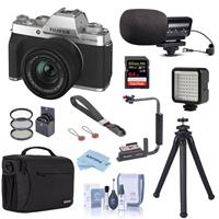 Fujifilm X-T200 Mirrorless Digital Camera with FUJINON XC 15-45mm f/3.5-5.6 Optical Image Power Zoom Lens Silver - Bundle With Stereo Mic, Shoulder Bag, Mini LED Light, Peak Camera Cuff Wrist, More