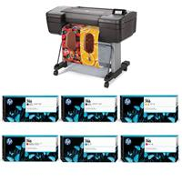 """HP DesignJet Z6 Large Format PostScript Graphics Printer - 24"""", with Advanced Security Features (T8W15A) With Ink Bundle"""
