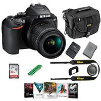 Nikon D3500 24MP DSLR Camera with AF-P DX NIKKOR 18-55mm f/3.5-5.6G VR Lens, Black - Bundle With Camera Case, 16GB SDHC Card, Card Reader, Software Package