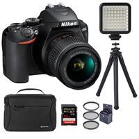 """Nikon D3500 24MP DSLR Camera with AF-P DX NIKKOR 18-55mm f/3.5-5.6G VR Lens, Black - Bundle With 32GB SDHC Card, Soulder Bag, Mini LED Light, Fotopro UFO 2 12"""" Flexible Tripod, 55mm Filter Kit"""