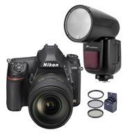 Image of Nikon D780 FX-Format DSLR Camera with AF-S NIKKOR 24-120mm f/4G ED VR Lens - With Flashpoint Zoom Li-on X R2 TTL On-Camera Round Flash Speedlight For Nikon, 77mm Filter Kit