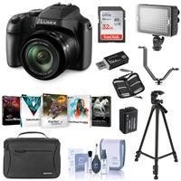 Panasonic Lumix DC-FZ80 Digital Point & Shoot Camera - Bundle With 32GB SDHC Card, Camera Bag, Spare Battery, Tripod, Video Light, Cleaning Kit, Card Reader, Memory Wallet, Software Package, Shoe V-Bracket