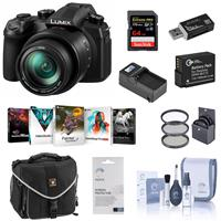 Panasonic LUMIX DC-FZ1000M2 20.1MP Digital Camera with 25-400mm f/2.8-4 Leica DC Lens - Bundle with 64GB U3 SDXC Card, Camera Case, Spare Battery, 62mm Filter Kit, Cleaning Kit, Memory Wallet, PC Software