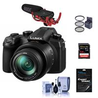 Panasonic LUMIX DC-FZ1000M2 20.1MP Camera with 25-400mm f/2.8-4 Leica DC Lens - Bundle with 64GB U3 SDXC Card, RODE VideoMic with Rycote Lyre System, 62mm Filter Kit, Cleaning Kit, Screen Protector