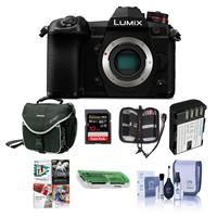 Image of Panasonic Lumix G9 Mirrorless Camera Body, Black - Bundle With 32GB SDHC U3 Card, Spare Battery, Camera Case, Cleaning Kit, Memory Wallet, Card Reader, PC Software Package