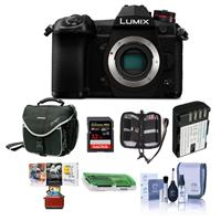 Image of Panasonic Lumix G9 Mirrorless Camera Body, Black - Bundle With 32GB SDHC U3 Card, Spare Battery, Camera Case, Cleaning Kit, Memory Wallet, Card Reader, Mac Software Package