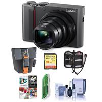 Panasonic Lumix DMC-ZS200 Digital Point & Shoot Camera, Silver - Bundle With 32GB SDHC U3 Card, Camera Case, Cleaning Kit, Memory Wallet, Card reader, PC Software Package