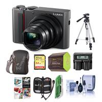 Panasonic Lumix DMC-ZS200 Digital Point & Shoot Camera, Silver - Bundle With 64GB SDHC U3 Card, Camera Case, Spare Battery, Tripod, Dual Charger, Cleaning Kit, Memory Wallet, Card reader, Pc Software Package